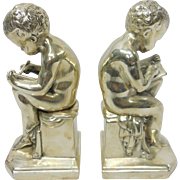 Vintage Unusual Cherubs Bookends Children Boys Writing Book
