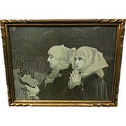 19th C. German Stevengraph Woven Silk Framed Image of Nuns Praying & Reading