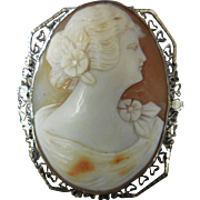 Early 20th Century Shell Cameo in 14 K White Gold Filigree Brooch / Pin or Necklace