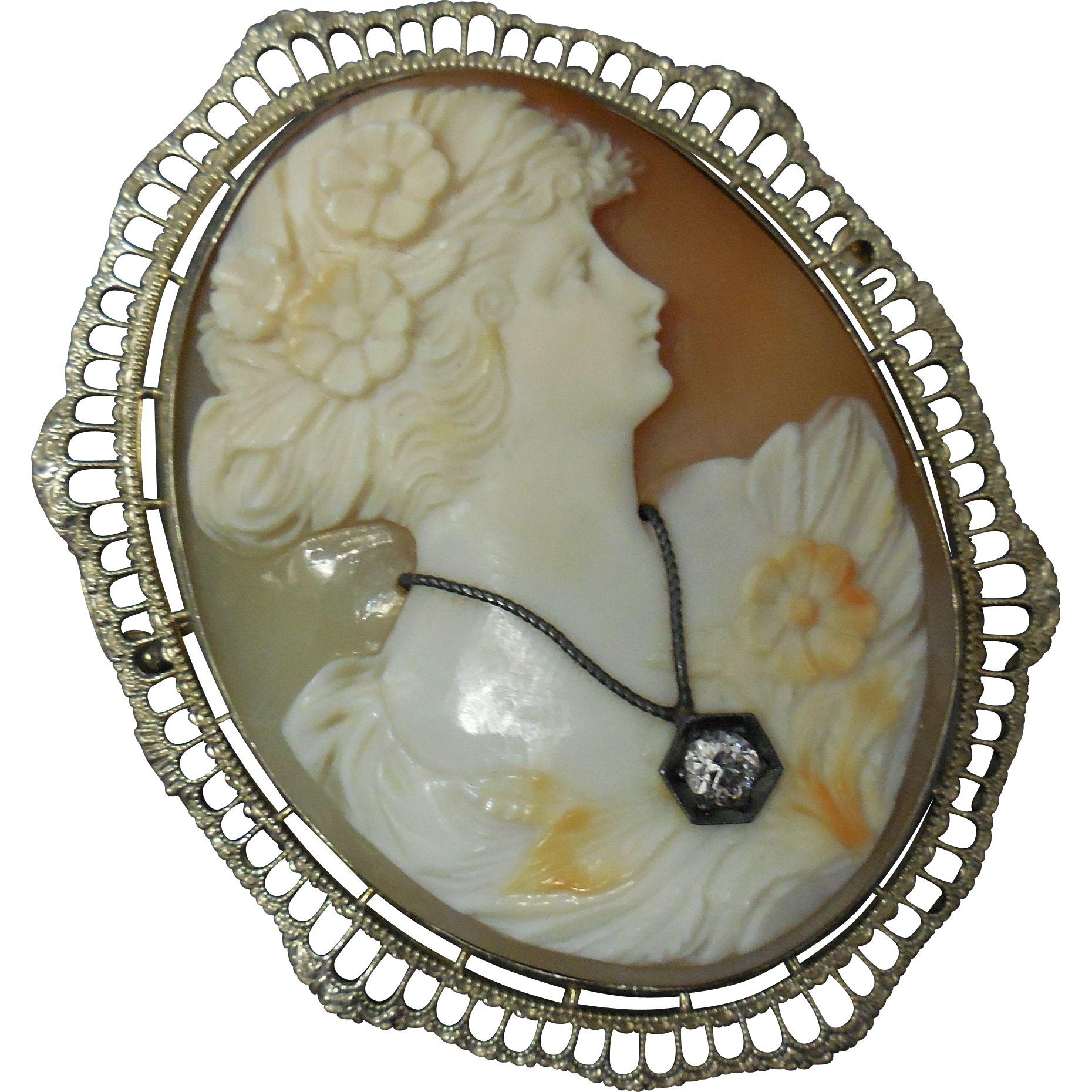 Early 20th C Shell Cameo 14 K White Gold Filigree Brooch