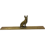 Bronze German Shepherd Dog Miniature Figurine Statue on Ruler Base
