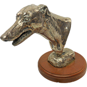 20th Century Signed Silver Greyhound Dog Head Bust Sculpture by Mary Beattie Scott