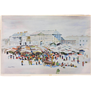 """Warsaw Marketplace"" Water Color Painting Signed by Howard N. Watson"