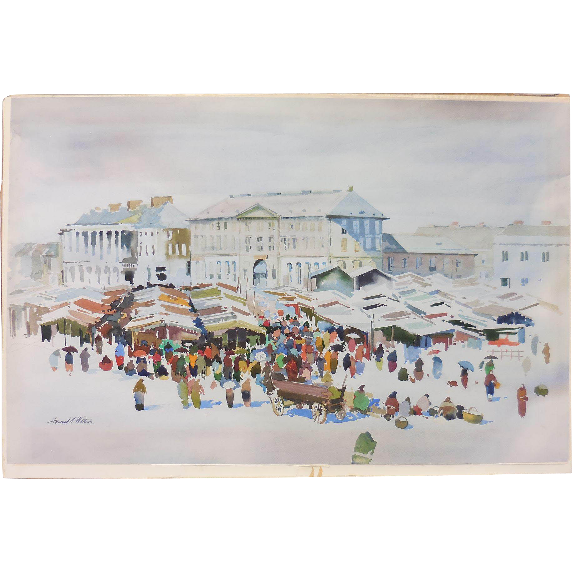 """""""Warsaw Marketplace"""" Water Color Painting Signed by Howard N. Watson"""