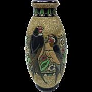 c. 1920 Art Nouveau Teplitz RStK Austrian Amphora Ceramic Vase With Birds