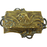 Art Nouveau English Footed Brass Stamp Box With Raised Repousse Woman Motif