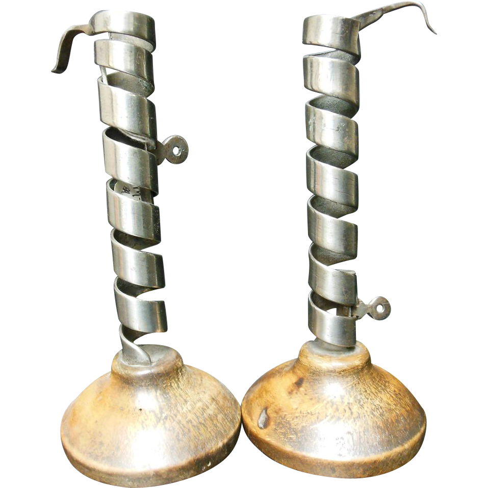 French Iron Spiral Candlesticks