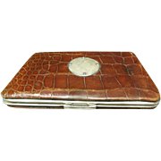 Victorian Alligator Skin & Sterling Silver Business Card Case