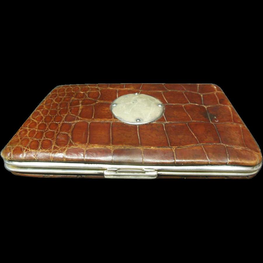Victorian Alligator Skin & Sterling Silver Business Card Case