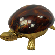 Vintage Brass Golden Tone Tortoise With Shell and Buzzer Tail Desk Bell