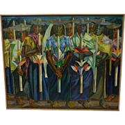 "Rare Diogenes Paredes Oil Painting - ""Indian Procession"" - Ecuador - c. 1963"