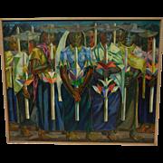 "Rare Diogenes Paredes Oil Painting - ""Indian Procession"" - Ecuador - c. 1963"