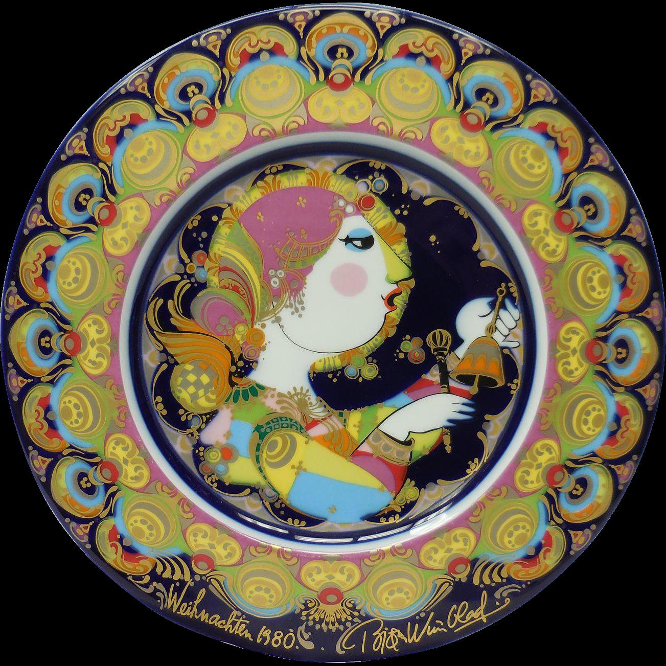 Signed Bjorn Wiinblad Studio Line Rosenthal Decorative Plate – Weihnachtsteller (Christmas) 1980 Angel With Bells