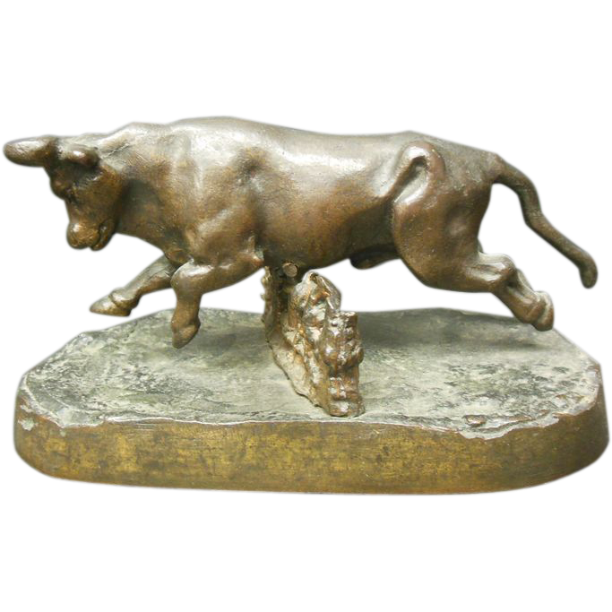 Bronze Bull Jumping Over Fence