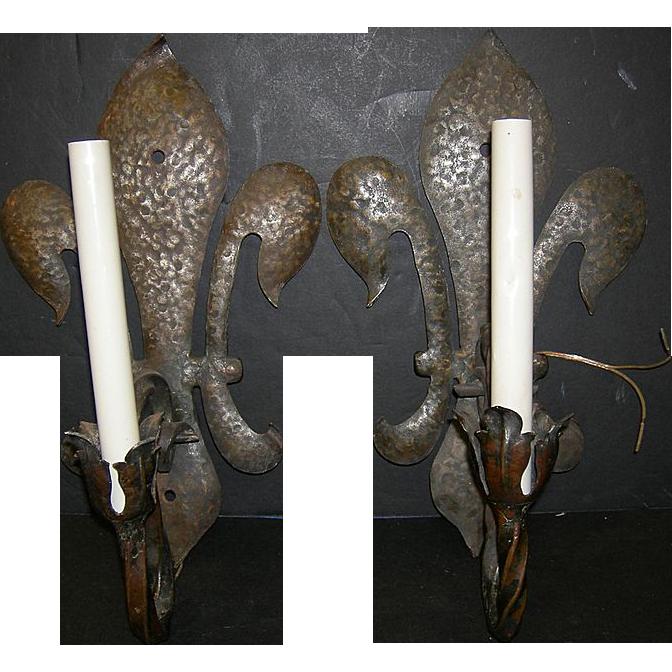 Wrought Iron sconces Fleur de Lis