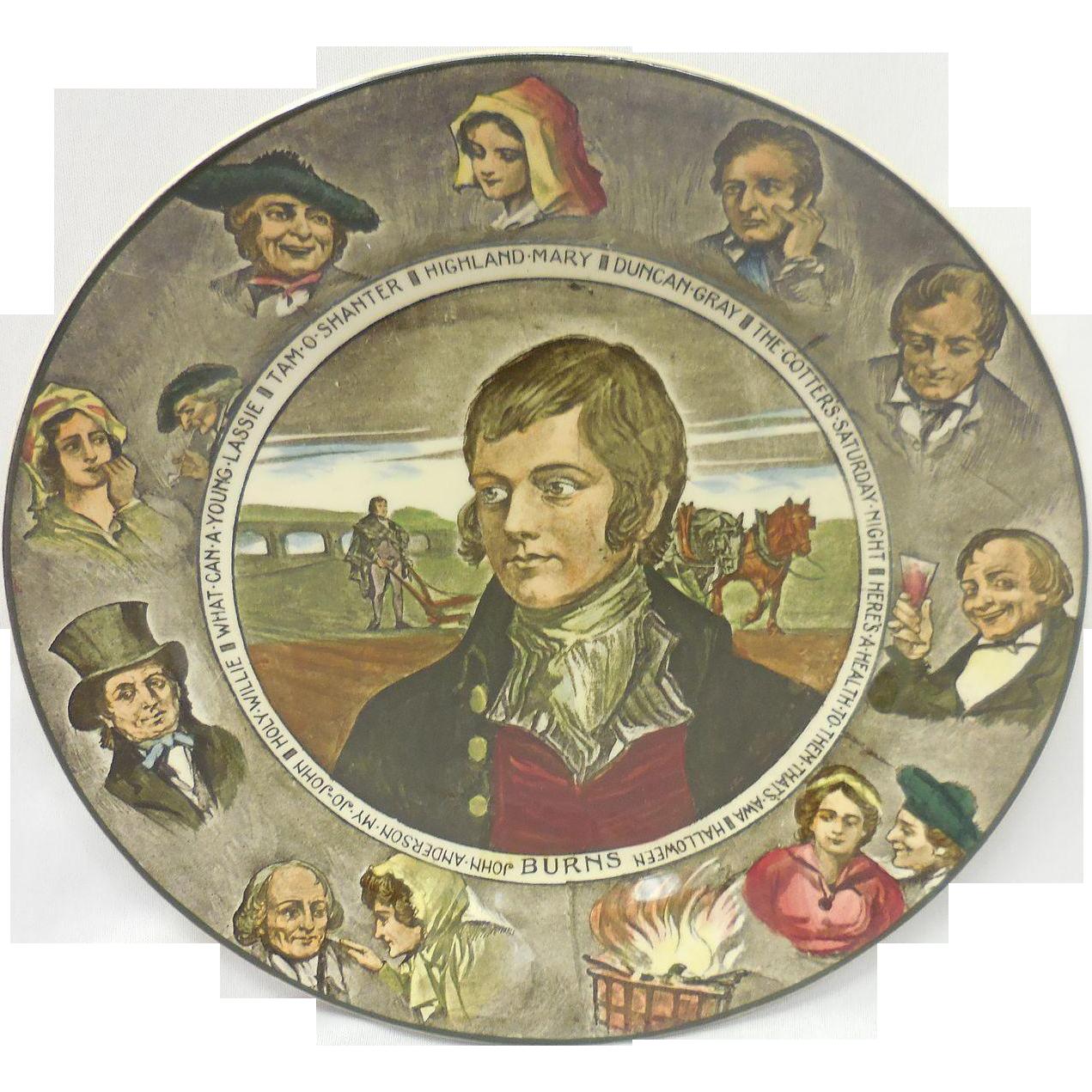 Vintage Royal Doulton Porcelain Literary Portrait Plate – Robert Burns