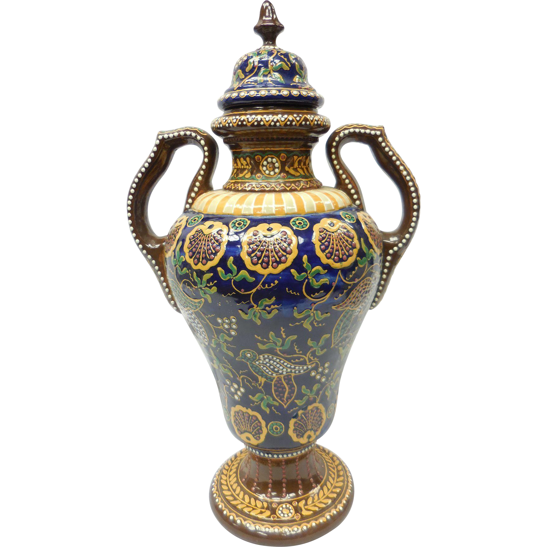 Rare French Faience Quimper Pottery Ornate Covered Handled Vase