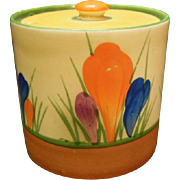 P1225 - Handpainted Bizarre Ware Crocus Pattern Sugar Bowl by Clarice Cliff
