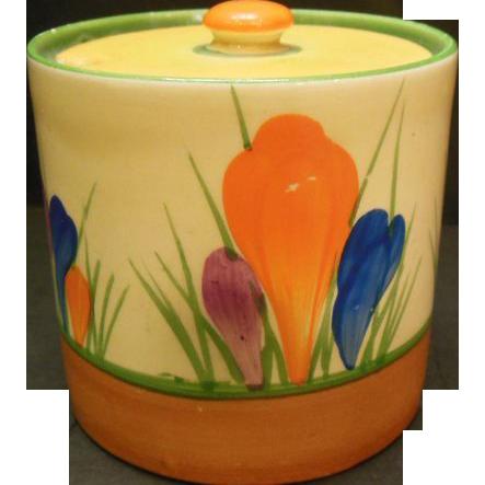 P1225 - Handpainted Bizarre Ware Crocus Pattern Sugar Bowl by Clarice Cliff