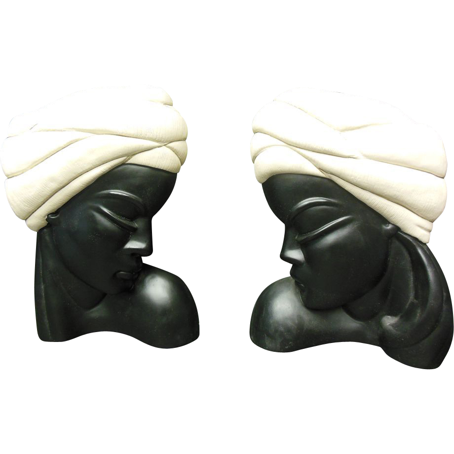 Pair of Alexander Backer Chalkware Heads with Turbans