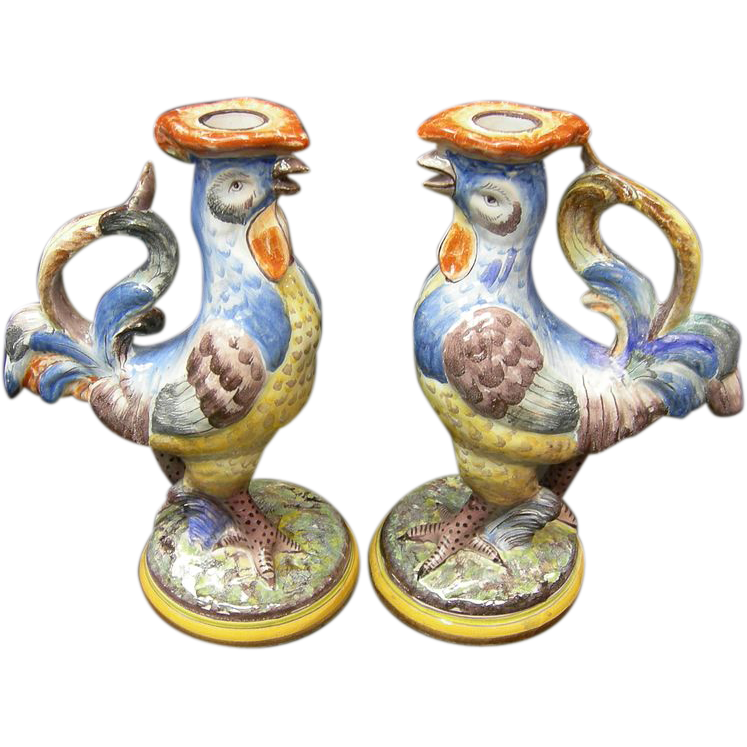 French Faience Rooster Candlesticks
