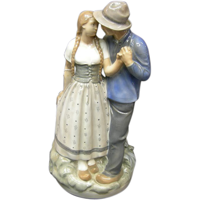 Royal Copenhagen Statue Of Young Couple From Antiquegal On