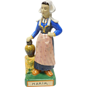French Faience Quimper Pottery Young Breton Milk Maid Figure