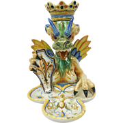 c. 1890 Florence Italian Majolica Pottery Dragon Queen Candlestick by Ulisse Cantagalli