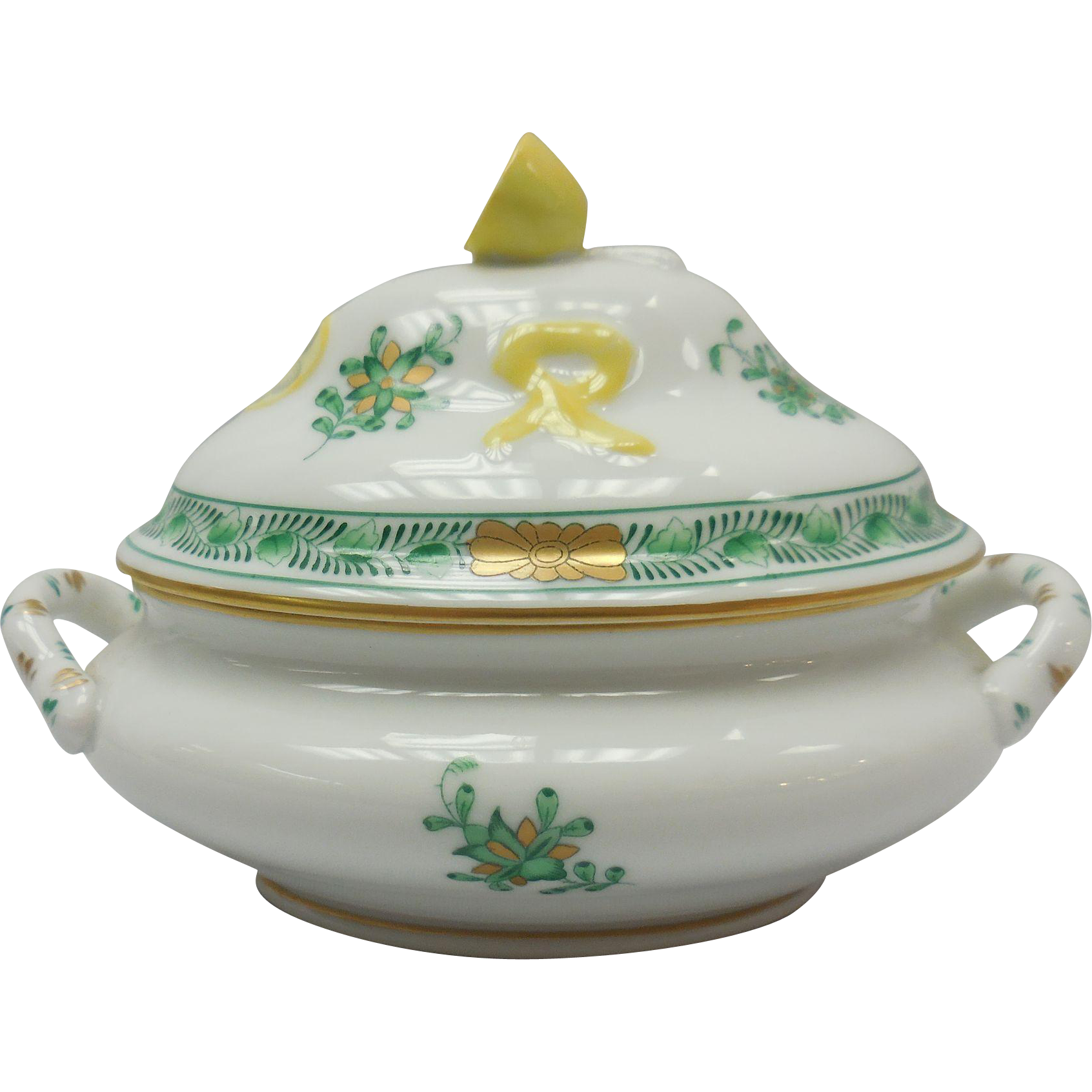 Hungarian Herend Porcelain Lemon Motif Covered Dish