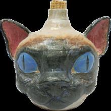 Monty Weaver's Whimsical Southern Folk Ceramic Siamese Cat Face Jug