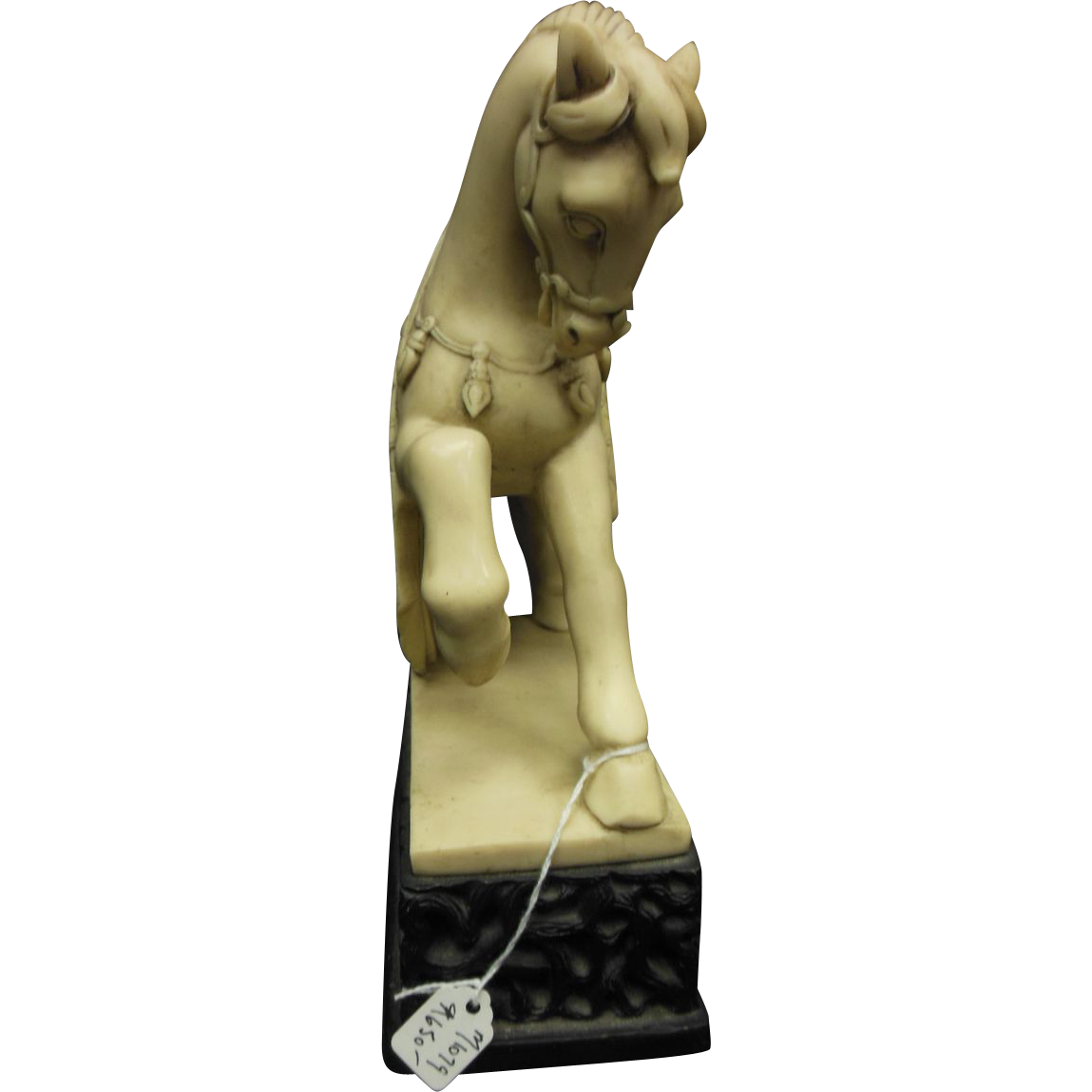 Ceremonial Asian style horse made of black and white resin