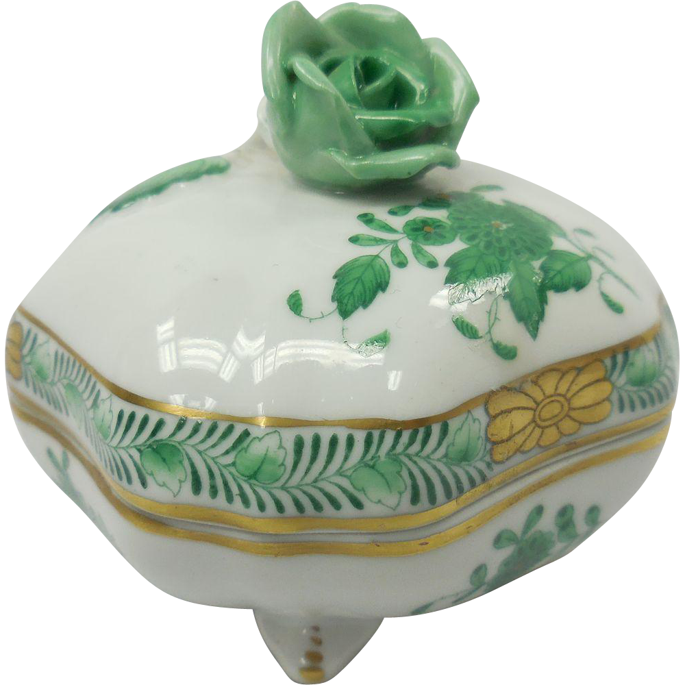 Hungarian Herend Porcelain Green Rose Motif Covered Footed Box