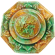 : Wedgwood Majolica Octagonal Putti Motif Portrait Plate