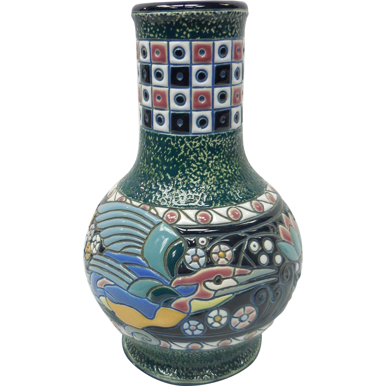 Art Nouveau Czechoslovakia Amphora Ceramic Vase With Colorful Bird Motif