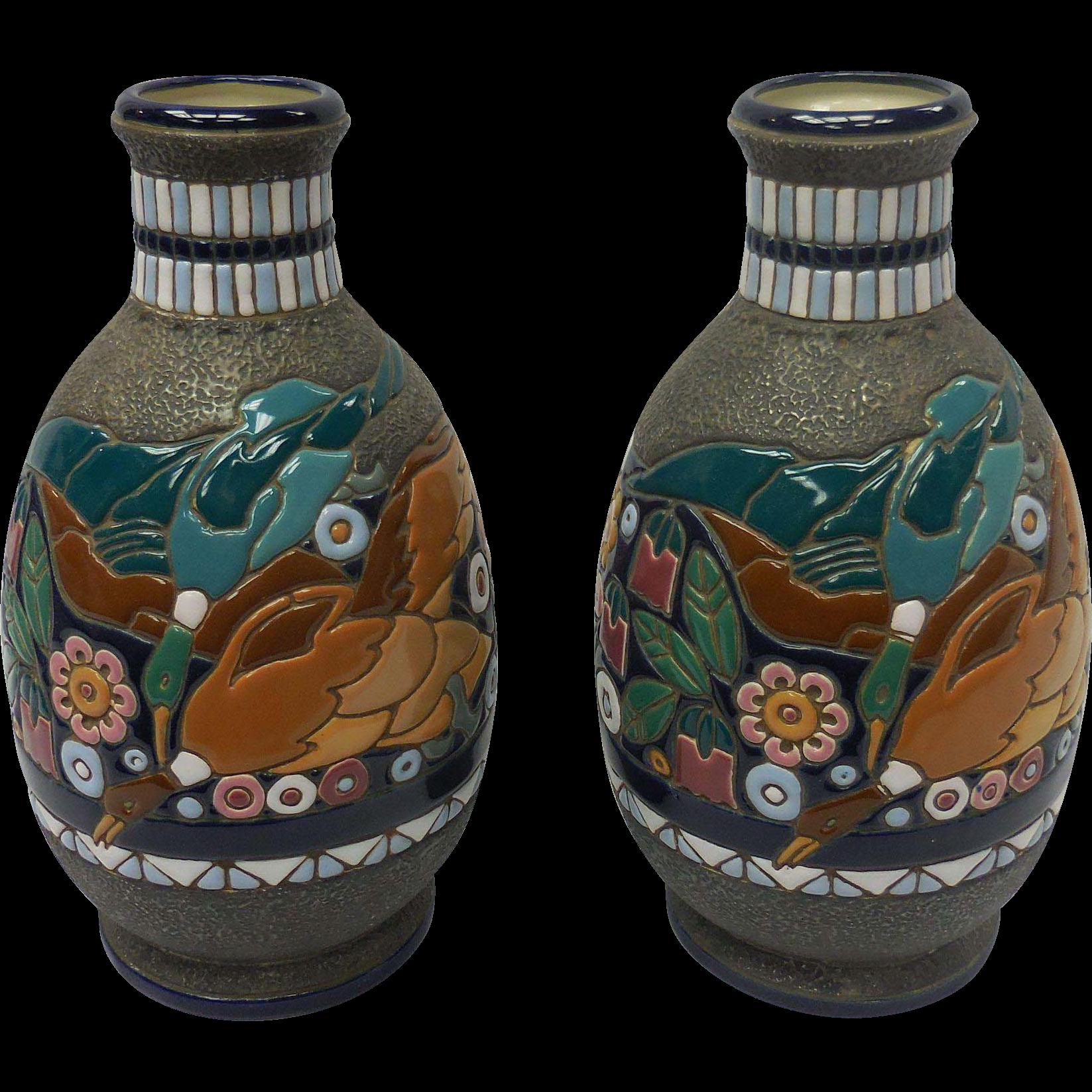 pair of art nouveau amphora ceramic vase with duck motif
