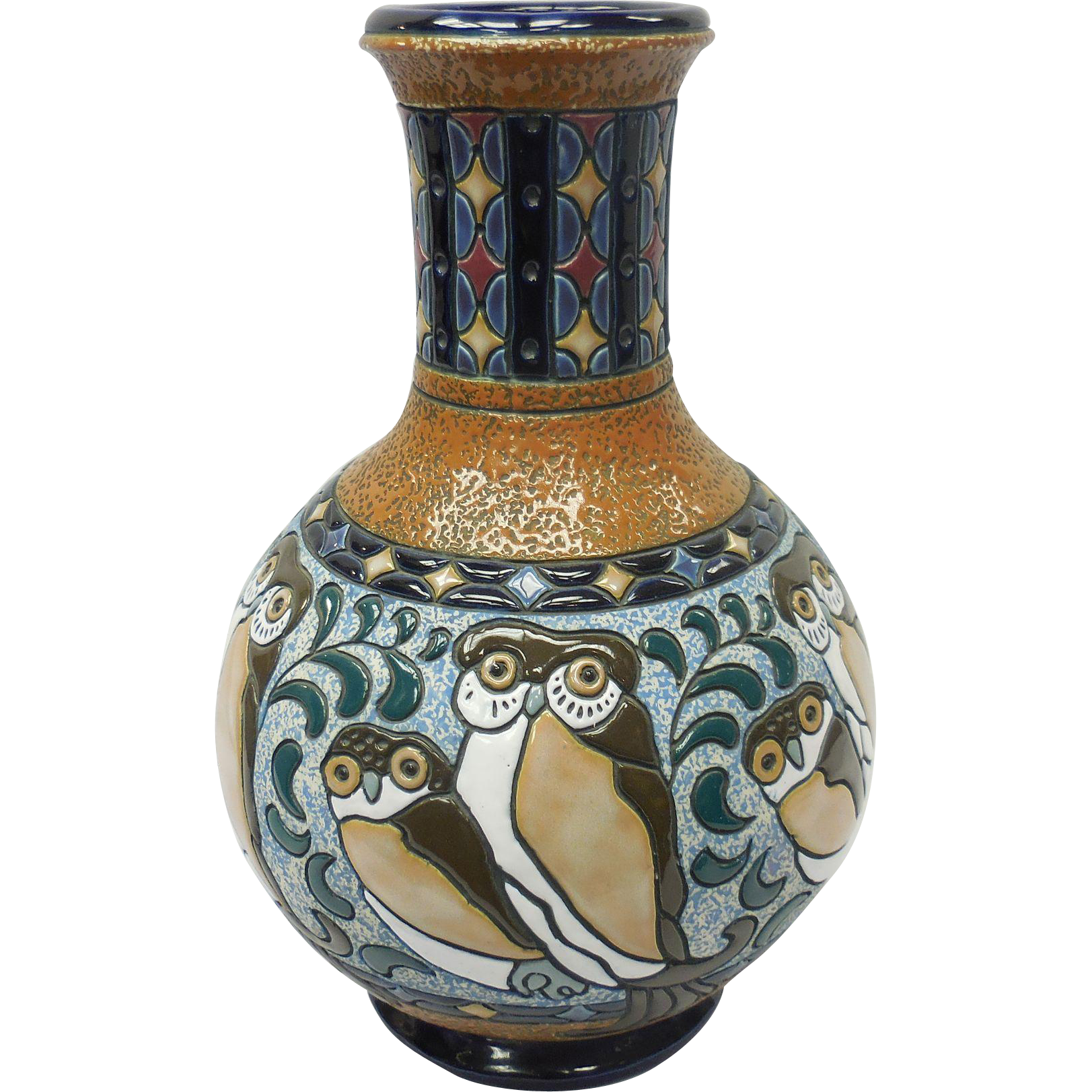 Art Nouveau Czechoslovakia Amphora Ceramic Vase With Owl
