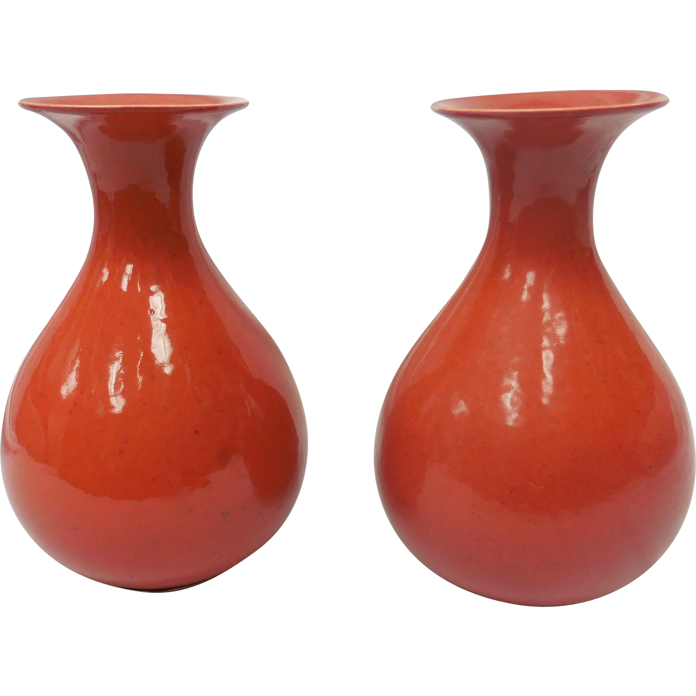 Pair of Red Cowan Pottery Vases