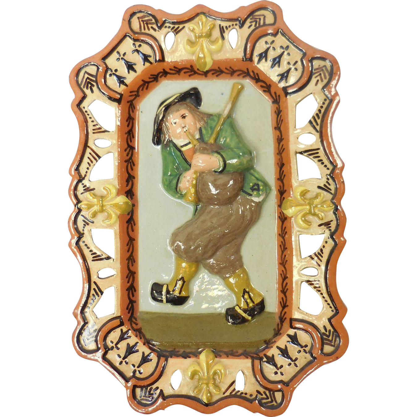 French Quimper Pottery Porquier Beau Bagpipe Player With Fleur-De-Lis Plaque