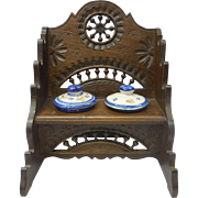 Rare French Quimper Pottery Inkwells in Double Plozevet Wooden Furniture Bench Inkwell Stand