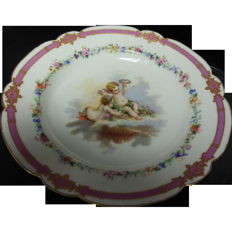 French Cherub Hand-Painted Plate