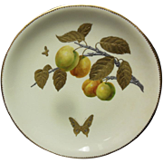 Porcelain Minton Dish of Butterfly and Fruit with Gold and Silver Leaf