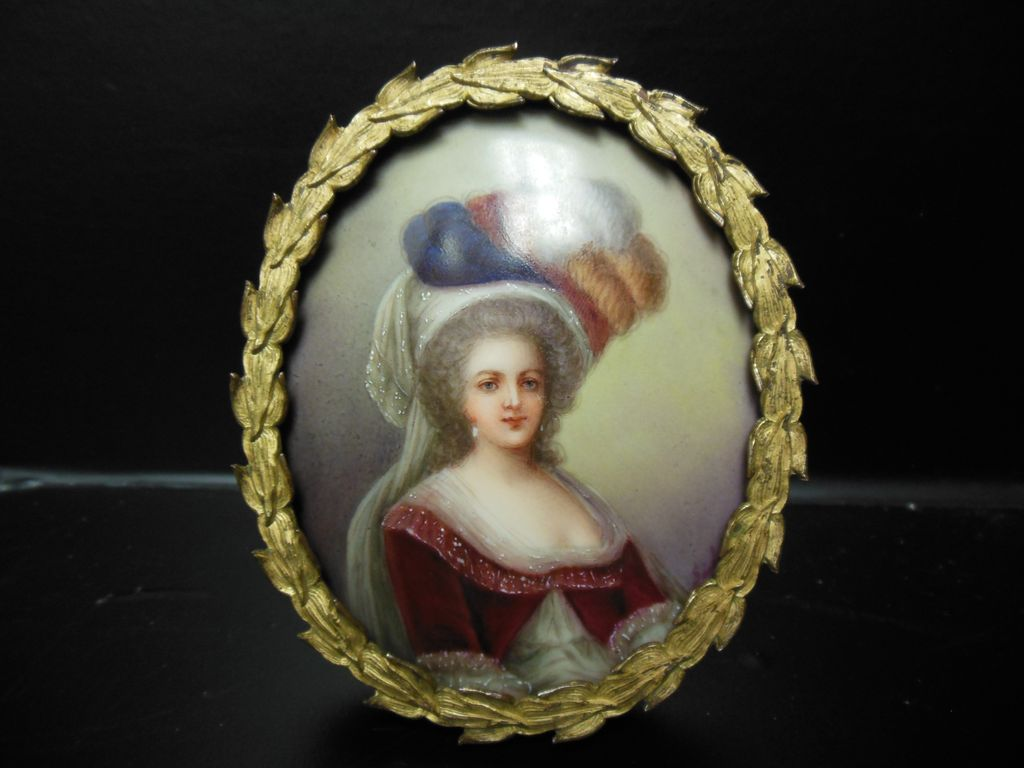 Antique KPM Style Marie Antoinette Mini Portrait Painting on Porcelain