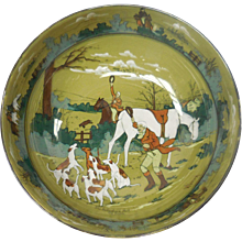 """Signed c. 1908 Buffalo Pottery Deldare Bowl – """"The Fallowfield Hunt. The Death"""" by W. Foster"""