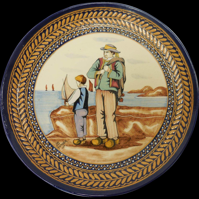 French Quimper Pottery Seaside Landscape Breton Motif Decorative Plate