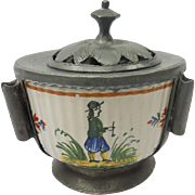 Rare French Quimper Pottery Breton Motif Inkwell In Pewter Housing