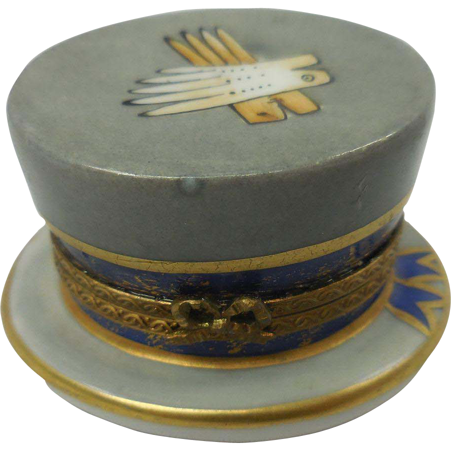 French Limoges Miniature Hand Painted Porcelain Gentlemen's Hat Box