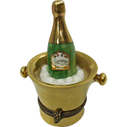 Miniature French Limoges Hand Painted Porcelain Champagne Bottle In Ice Bucket Box