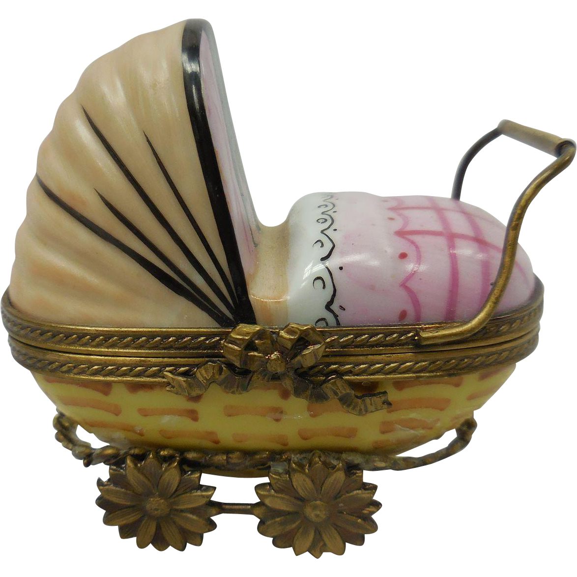 French Limoges Miniature Porcelain Baby Carriage Box