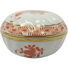 Hungarian Herend Porcelain Red-Orange Flower Motif Round Covered Box