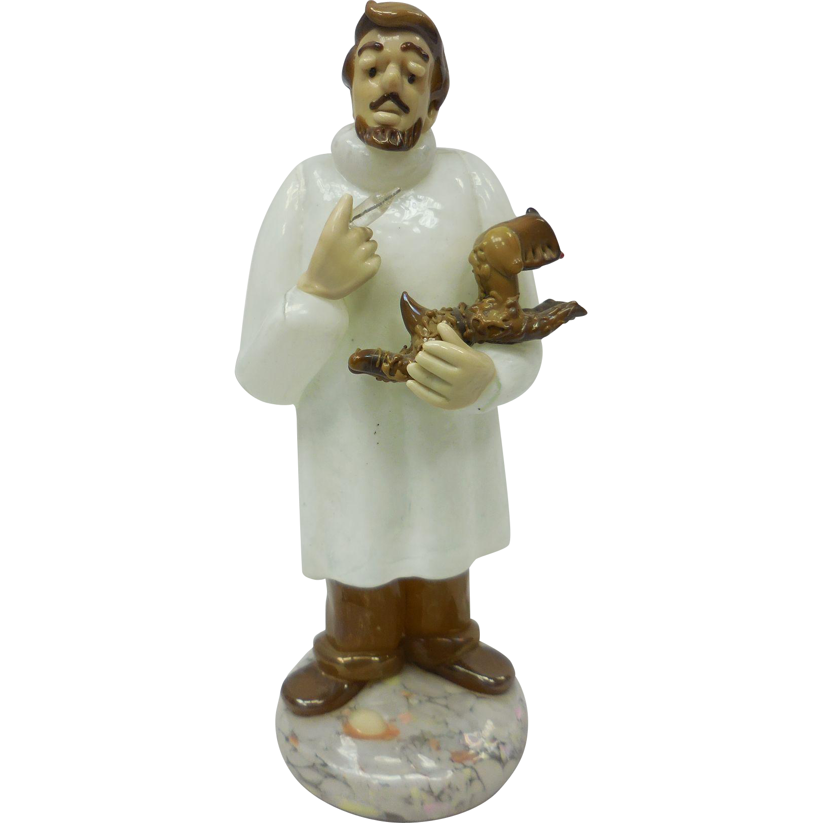Mid-Century Czech Glass Veterinarian Holding Brown Dog and Needle